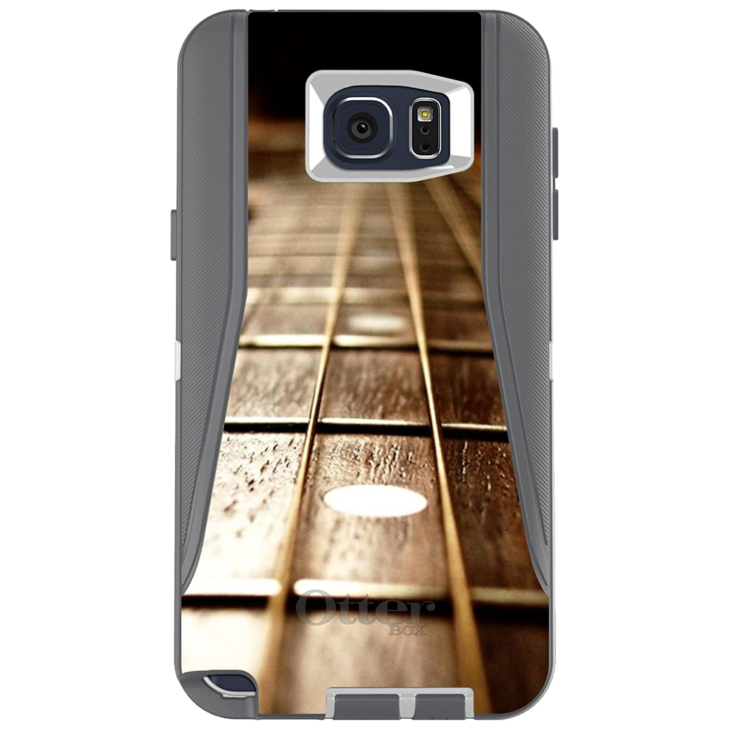 DistinctInk Case for Galaxy Note 5 - Custom Grey & White OtterBox Defender - Guitar Strings Neck