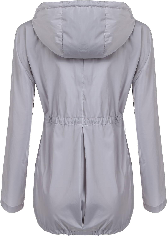 Zeagoo Damen Windjacke Regenjacke Wasserdicht Übergangsjacke Windbreaker Funktionsjacke Leicht Regenmantel mit Kapuze und Taschen A+grau
