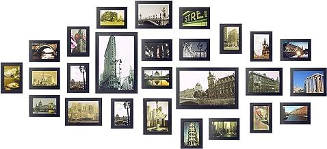 Yorbay Conjunto de Marcos de Fotos de Madera para 26 Fotos montado en la Pared (26 Fotos Negro) Reutilizable