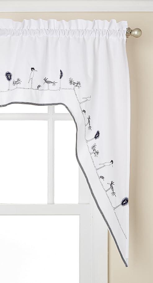 LORRAINE HOME FASHIONS Birdland Tailored Curtain Swag, 56 inch x 38 inch, Navy/White, 56
