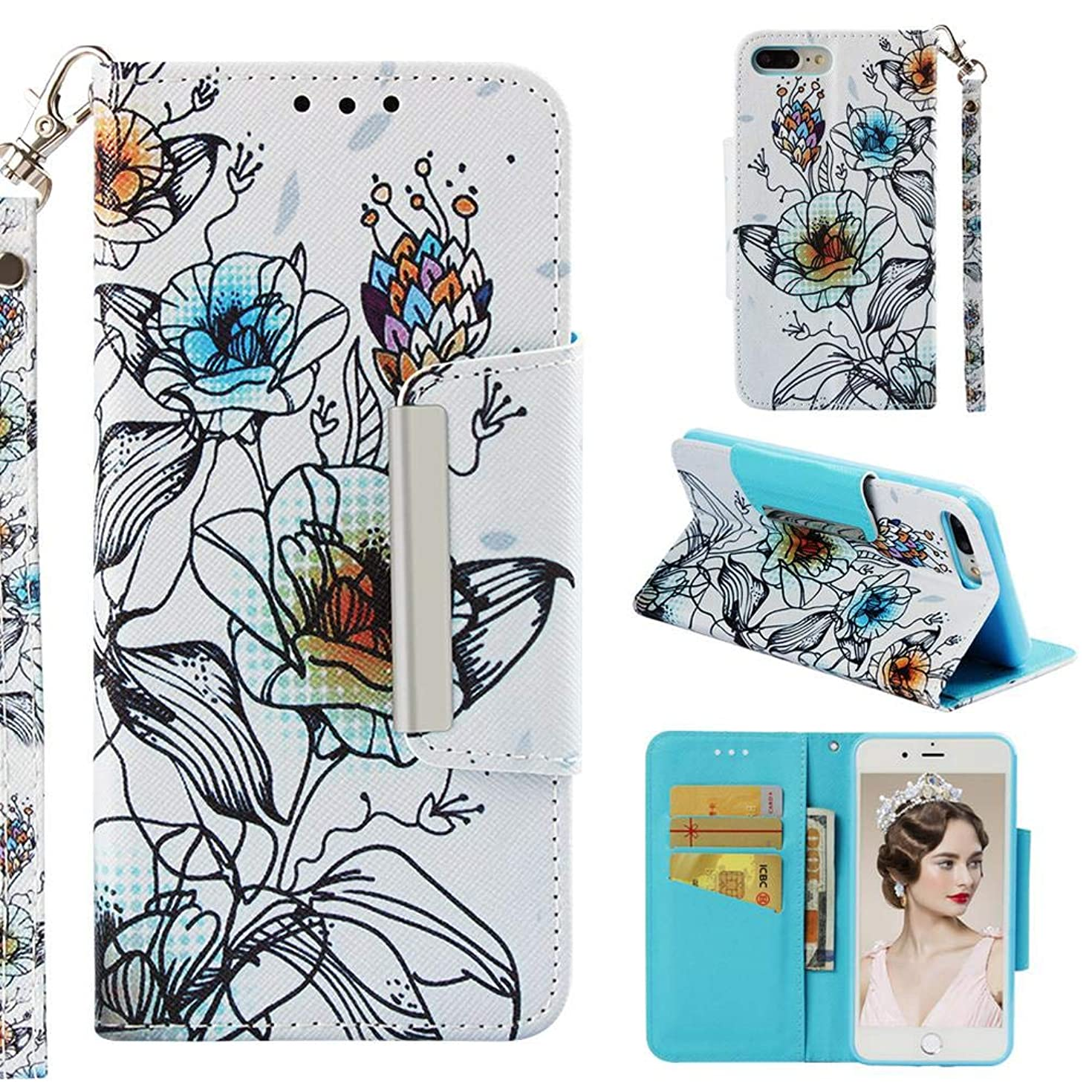 Case for iPhone 7 Plus/8 Plus,Slim 3D Printing PU Leather Kickstand Wallet Case Card Holder Inner Soft TPU Bumper with Magnetic Closure & Wrist Strap Compatible with Apple iPhone 7 Plus/8 Plus -Lily