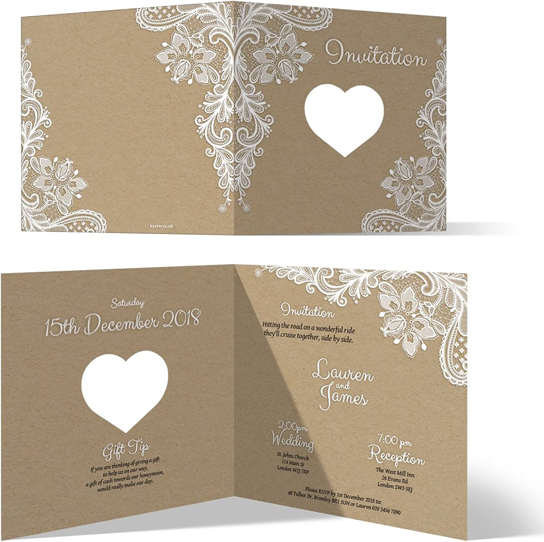 50 x Laser Cut Wedding Invitation Cards Invites Own Wording  Rustic Kraft Paper Look