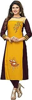 Delisa Womens Multi Designer Women Straight Multi Design Printed Kurti for Women Tunic Top r 3/4 Sleeve Dress 7