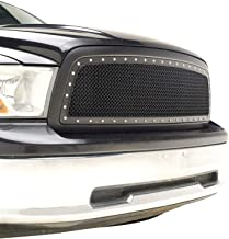 EAG Replacement Grille Rivet Mesh Front Upper ABS Grill Fit for 09-12 Dodge Ram 1500 - Matte Black