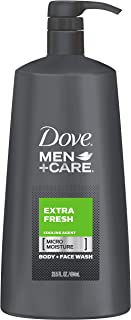 Dove Men+Care Body and Face Wash Pump for Dry Skin Extra Fresh More Moisturizing Than Typical Bodywash 23.5 oz (Pack of 4)