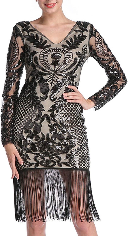 送料無料新品 CHARTOU Women's Elegant ブランド品 V Neck Sequins Shimmer Packaged Tass Hip