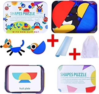 Wooden Shapes Puzzle & Pattern Blocks -Tested by Teachers- develops Focus, Problem-Solving & More - Includes Non-Slip mat...