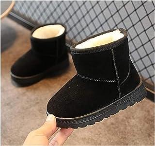 Youpin Bottes de neige chaudes et antidérapantes en cuir pour enfants avec fond souple (couleur : or, taille : 34)