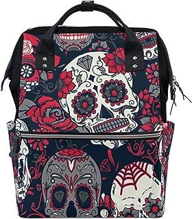 WOZO Retro Flower Sugar Skull Multi-function Diaper Bags Backpack Travel Bag