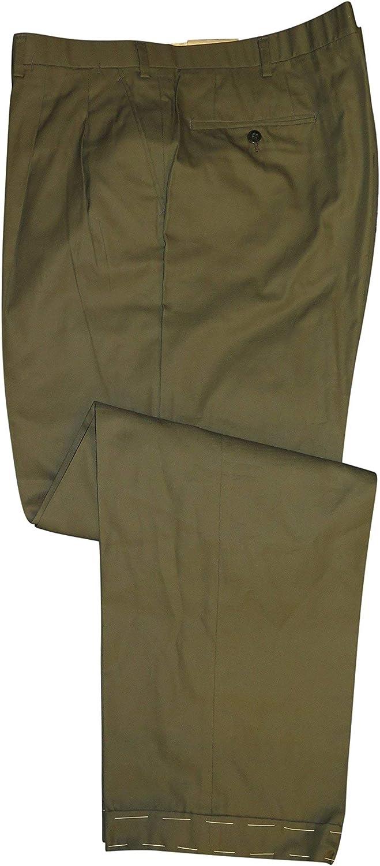 Brioni Men's Alfa Olive Green Casual Gifts Pants Trust Cotton 42 Dress
