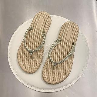 Summer sandals Shower Open Toe Sandals,Ladies woven soft bottom flip flops-Pink_39,Breathable Beach Flip Flops flip flop (Color : Green, Size : UK6.5)
