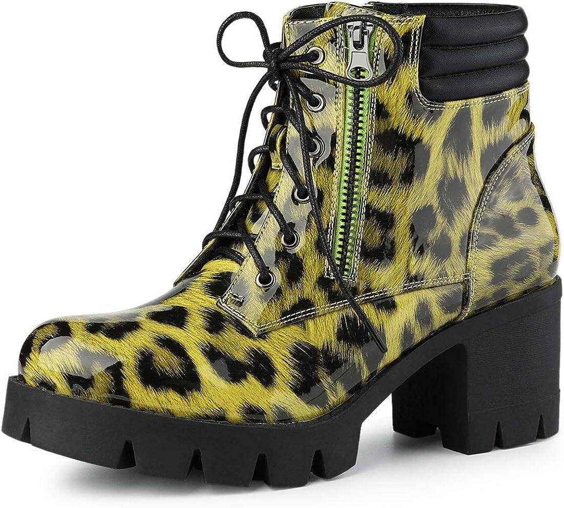 Allegra K Women's 日本未発売 Leopard Printed Heels Combat 売却 Block Boots