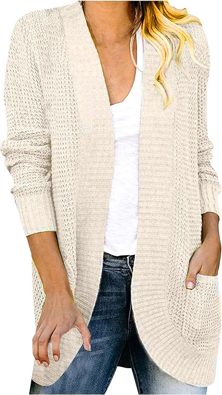 Silkrain Women Open Front Cardigans Long Sleeve Casual Chunky Knit Draped Sweaters Solid V Neck Pockets Outwear Coat
