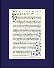 Desiderata by Max Ehrmann - Calligraphy with Blue Roses 8x10 Inch Matted Print