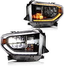 YUANZHENG LED Headlights for Toyota Tundra Pickup 2014 2015 2016 2017 2018 2019 with Sequential Turn Signals Fiber Optic DRLs YAA-TDR-2045, Chrome