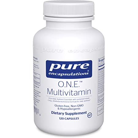 Pure Encapsulations O.N.E. Multivitamin   Once Daily Antioxidant Complex with Metafolin L-5-MTHF, CoQ10, and Lutein to Support Energy, Vision, Cognitive Function, and Cellular Health*   120 Capsules