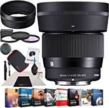Sigma 56mm F1.4 DC DN C Contemporary Lens for Micro 4/3 Four Thirds MFT Mount (351963) Premium Accessory Set with Multicoated Filter Kit + Photo Video Editing Software Suite Bundle