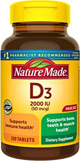Nature Made Vitamin D3 2000 IU (50 mcg) Tablets, 220 Count for Bone Health (Packaging May Vary)
