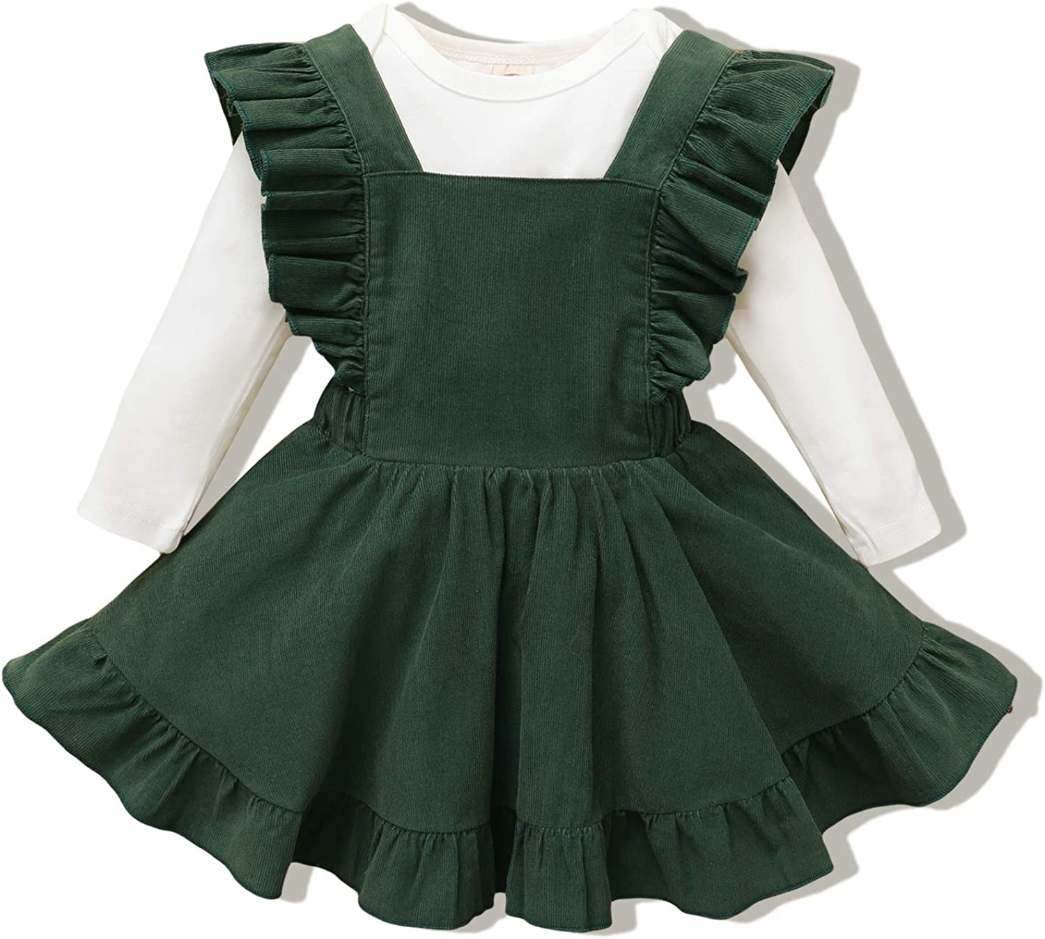 Infant Baby Girl Clothes Long Sleeve Overalls Dress Baby Suspender Skrit Set Fall Winter Clothing Toddler Girl Outfits