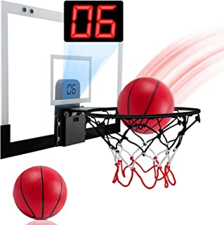 Indoor Mini Basketball Hoop Set for Kids with Electronic Score Record and Sounds, Basketball Hoop Over The Door with 1 Bal...