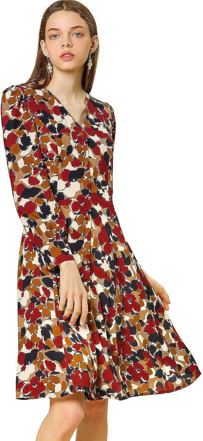 Allegra K Women's Vintage Button Up Shirt Dress Bishop Sleeve Floral Below Knee Length Dress