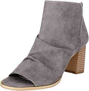 Women's Open Toe Ankle Boots Sueded Chunky Booties Cut Out Zipper Peep Toe Ankle Boots