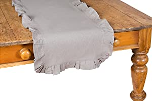 Xia Home Fashions Ruffle Trim Solid Table Runner, 16 by 54-Inch, Taupe