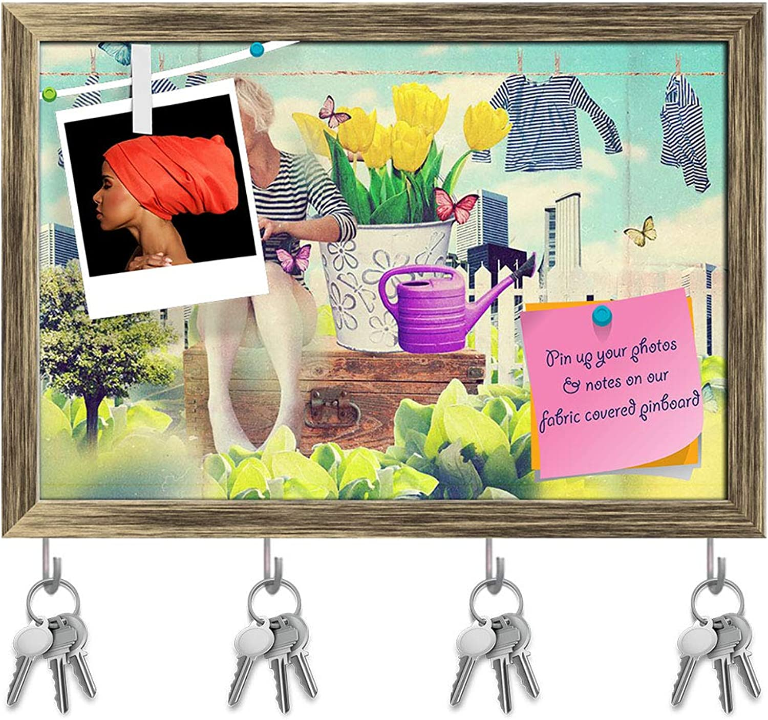 Artzfolio Young Woman in Flowers Key Holder Hooks   Notice Pin Board   Antique golden Frame 17.5 X 12Inch