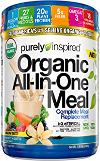 Purely Inspired All-in-One Meal Meal Replacement Shake Powder, Vegan, 20g Protein with Fiber, Vitamins, Minerals & Probiotics, French Vanilla, 15 Servings (1.3lbs)
