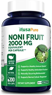 Noni Fruit 2000mg 200 Vegetarian caps (Extract 4:1, Non-GMO & Gluten Free) Powerful antioxidant, Boosts Imm...