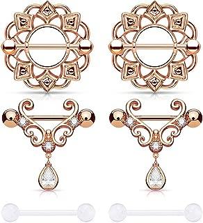 D.Bella Nipple Rings, 14G Tongue Rings Nipple Piercing for Women Tear Drop CZ Dangle Stainless Steel Nipplerings Barbell Piercing