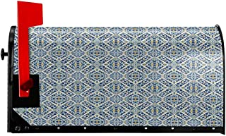 """NCXIAO Magnetic Mailbox Cover - 18""""W x 21""""H, Portuguese Azulejo Tiles Floral European Medieval Style Mosaic Moroccan Retro Effect,Mailbox Wraps Post Letter Box Cover"""