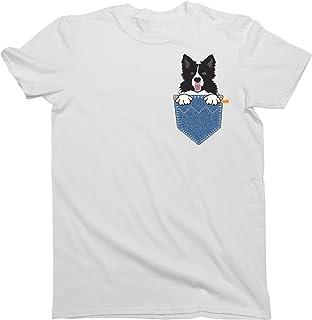 buzz shirts Hombres y Damas Border Collie Pocket Dog T-Shirt Mens Ladies Unisex Fit