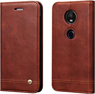 Moto E5 Play Case,Moto E5 Cruise Case,RUIHUI [Classic Edition] Leather Wallet Folding Flip Protective Case Cover with Card Slots,Kickstand and Magnetic Closure For Motorola Moto E5 Play XT1921 (Brown)