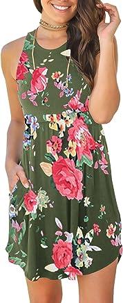 c308149855 Saodimallsu Womens Floral Sleeveless Loose Dresses Casual Swing Tunic T-Shirt  Dresses with Pockets