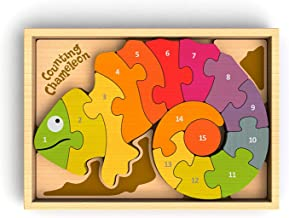 BeginAgain Counting Chameleon Bilingual Puzzle - Bilingual Wooden Numbers Puzzle - 3 and Up