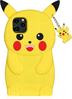 TopSZ Yellow Pikacu Case for iPhone 11, Silicone 3D Cartoon Hero Animal Cover,Girls Kids Teens Boys Man Animated Cool Fun Cute Kawaii Soft Rubber Funny Unique Character Cases for iPhone11 6.1