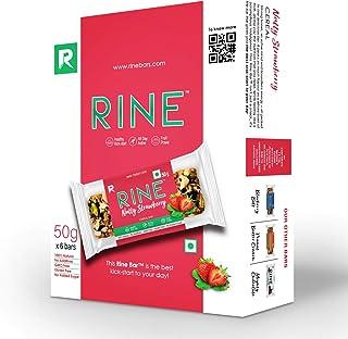 Rine Nutrition Bars |Nuts & Strawberry Energy Bars | Sugarfree Healthy Snacks |6 Granola Bars *50 g Each ( 6 Pack Box)