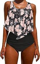 Kidsform Maillot de Bain 2 Pièces Femme Grande Taille Dos Nu Chic Tankinis Push Up Taille Haute Floral Slim Bikini Cache Ventre Hawaïenne Amincissant