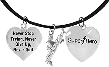 Martial Arts, Kickboxing Jewelry, Karate Jewelry, Super Hero, Never Quit, Never Stop Trying Martial Arts Jewelry Adjustable Necklace Hypoallergenic, Safe-Nickel, Lead Free