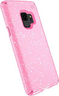 Speck Presidio Clear + Glitter Samsung Galaxy S9 Case, Bella Pink with Gold Glitter/Bella Pink