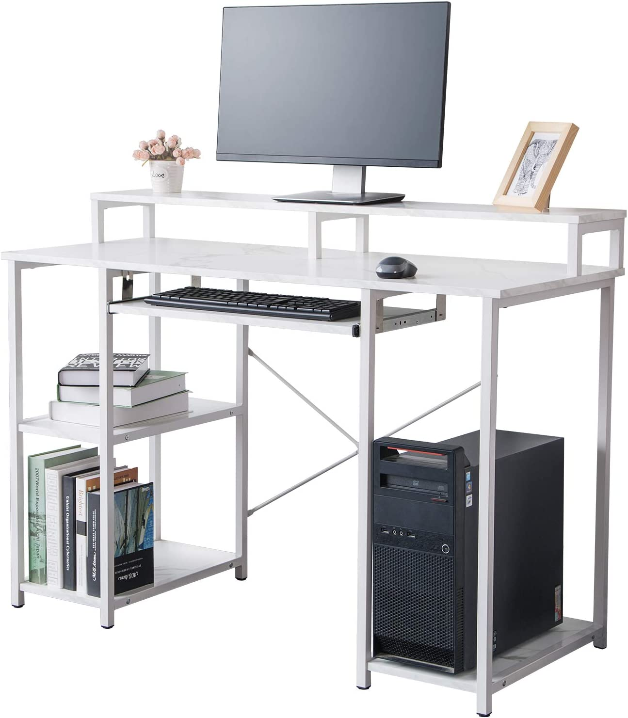 """TOPSKY Computer Desk with Storage Shelves/23.2"""" Keyboard Tray/Monitor Stand Study Table for Home Office(46.5inch,White Marble Texture)"""