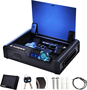 XDeer Biometric Gun Safes for Pistols,Quick-Acess Handgun Safe with Upgraded Fingerprint&Keypad Pistol Safe with Auto Open Lid&Interior Light for Home Nightstand Car