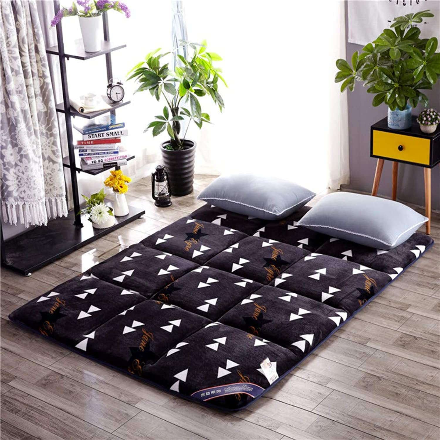 Flannel Japanese Floor Futon Mattress, Breathable Sleeping Pad, Foldable Matt Mat, Futon Sleeping Pad Bed Roll, Roll Up Mattress Topper Mat-a 90x200cm(35x79inch)