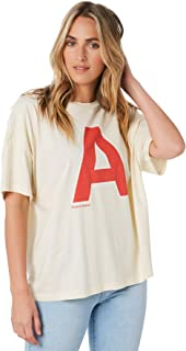 A.Brand Women's A Oversized Vintage Tee Short Sleeve Cotton Soft White