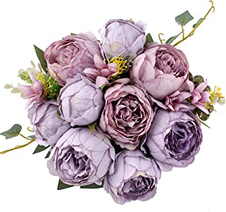 Blooming Paradise Artificial Fake Flowers Plants Silk Peony Flower Arrangements Wedding Bouquets Decorations Plastic Floral Table Centerpieces Home Kitchen Party Décor Festival Bar DIY (Lavender)