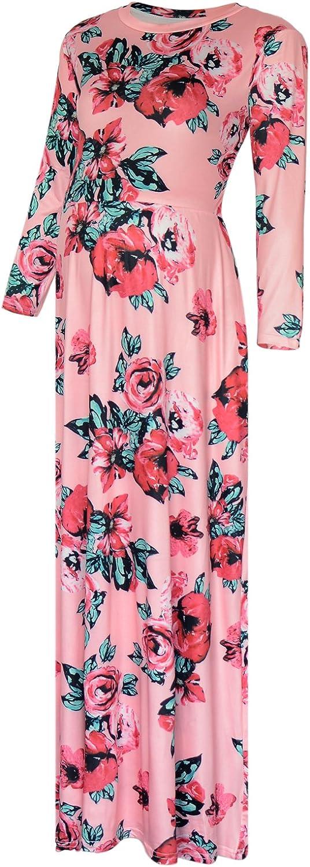 Black Cherry Women's Long Sleeve pink Print Tank Maternity Maxi Dress