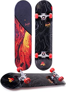 """Arcade Pro Skateboard 31"""" Standard Complete Skateboards Professional Complete Board w/Concave - Skate Boards Great for Beginners, Adults, Teens, Youth & Kids (7.75"""" Lava Flow)"""
