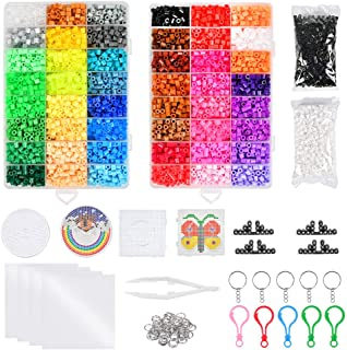 WOWOSS 10000+ Perles à Repasser 5mm 48 Couleurs avec 2 Plaques pour Loisirs Créatifs, Kit de Perles et Assortiments comme ...
