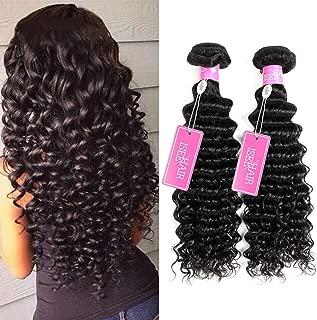 ISEE Hair 8A Grade Brazilian Deep Wave Virgin Hair Brazilian Curly Human Hair Weave 3 Bundles Unprocessed Natural Human Hair Extensions (18 20 22, Natural Color)